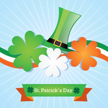 St Patrick�s Day color of ireland flag with hat and lucky clover. Vector Stock Vector - 17734310