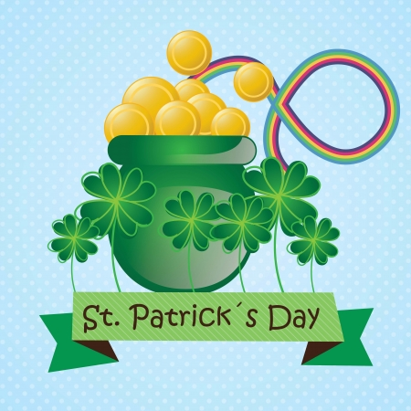 I found the pot of gold coins ( Follow the rainbow ). Vector illustration Stock Vector - 17734379