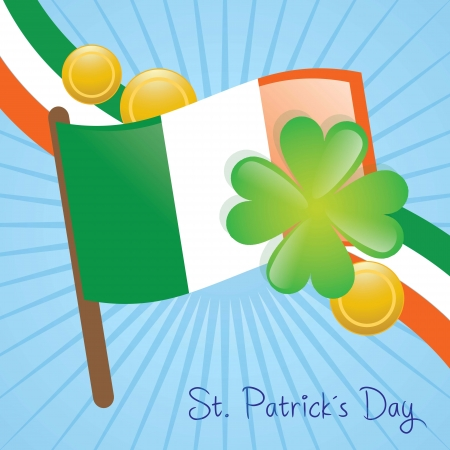 St Patrick�s Day Ireland flag and elements. Vector illustration Stock Vector - 17734294