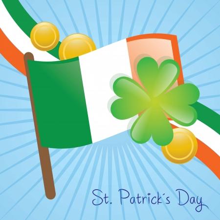 ireland flag: St Patrick�s Day Ireland flag and elements. Vector illustration