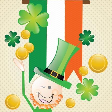ireland flag: Lucky elf with Ireland flag On vintage background. Vector illustration