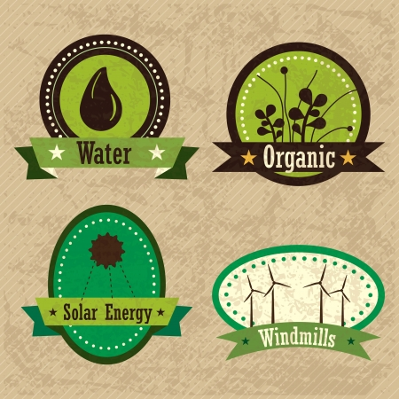 ecologically: Different eco-labels to mark a product or service. Vintage background Illustration