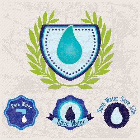 ahorrar agua: Diferentes etiquetas ecológicas (Ahorra Agua) para marcar un producto o servicio. Fondo de la vendimia