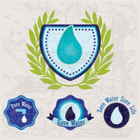 ecologically: Different eco-labels (Save Water) to mark a product or service. Vintage background Illustration