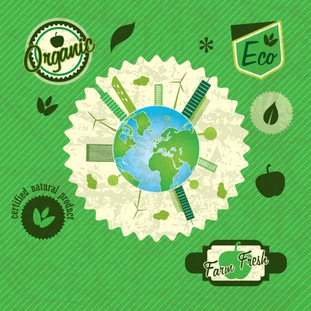 Eco labels planet concept, on green background Stock Vector - 17734534