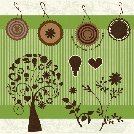 Brown Eco Labels, with tree formed by different icons. Vector Illustration Stock Vector - 17734540