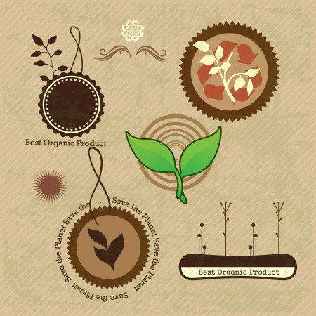 Different eco-labels to mark a product or service. Vintage background Stock Vector - 17734530