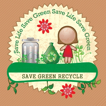 ecologically: Eco-labels to mark a product or service(Save Life). Vintage background