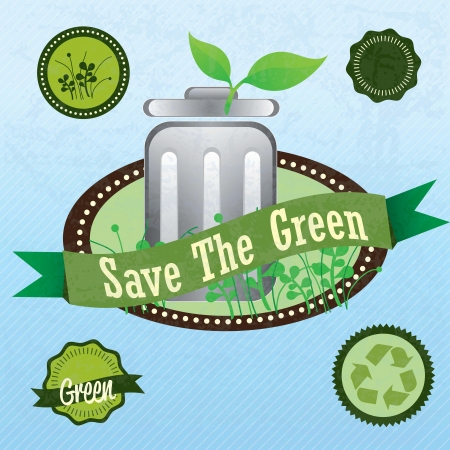 Eco-labels to mark a product or service (save the green). Vintage background Stock Vector - 17734550