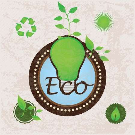 Different eco-labels to mark a product or service. Vintage background Vector