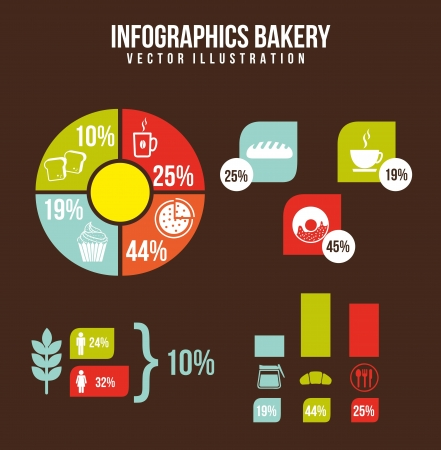 bakery infographics over brown background. vector  Vector