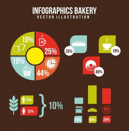 kneading: infografica da forno su sfondo marrone. vettore Vettoriali