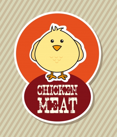 chicken label over beige background. vector illustration Vector