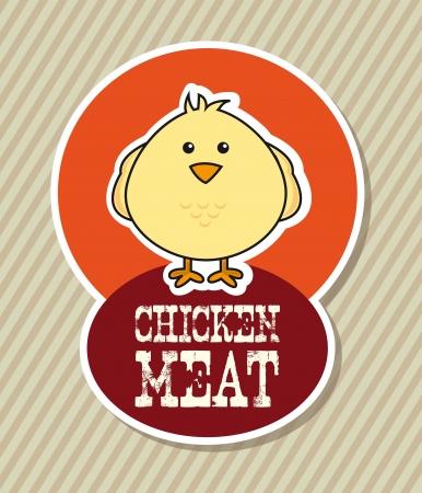 chicken label over beige background. vector illustration