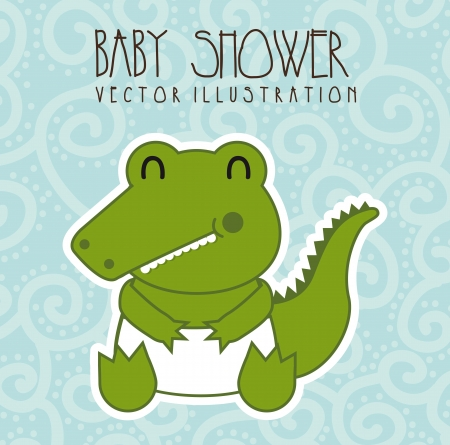 baby shower card with crocodile over blue background. vector  Vector