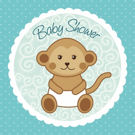baby shower card with monkey over blue background. vector  Vector