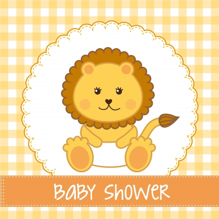 baby shower card with lion over yellow background. vector  Vector