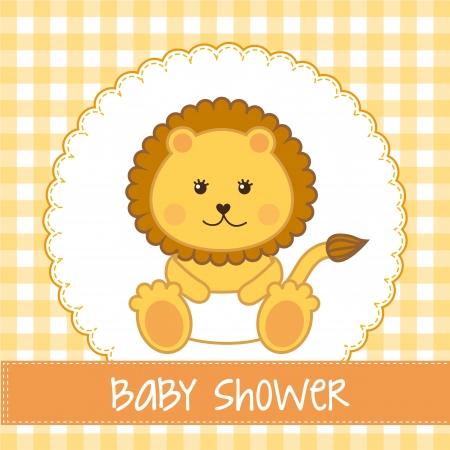 bebé ducha con tarjeta de león sobre fondo amarillo. vector Ilustración de vector