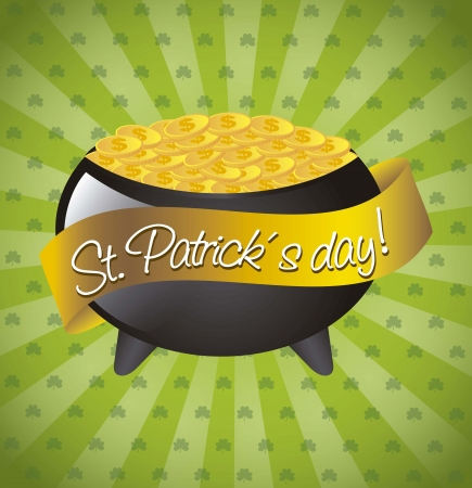patricks day illustration with coins over pot. vector illustration Stock Vector - 17784475