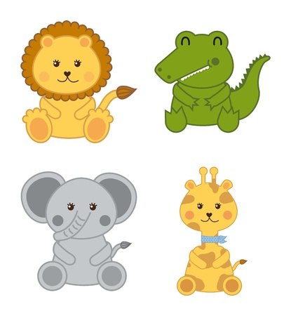 baby animals isolated over white background. vector illustration Vector