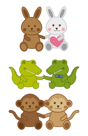 cute animals isolated over white background. vector illustration Vector