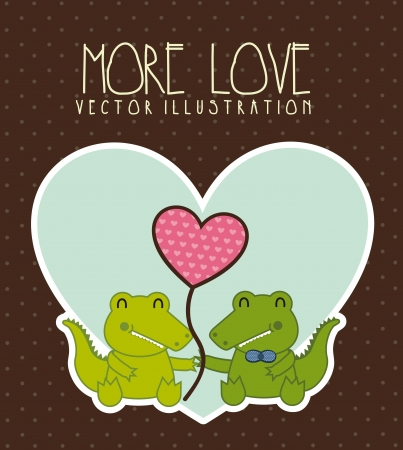 crocodile love illustration over brown background. vector illustration Vector