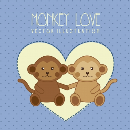 monkey love illustration over blue background. vector illustration Vector