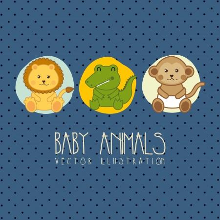b�b� singe: b�b� carte de douche avec des b�b�s animaux. illustration vectorielle Illustration