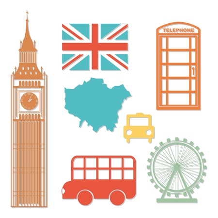 kingdoms: london elements over white background. vector illutration Illustration