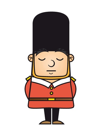 english culture: london guard isolated over white background. vector illustration