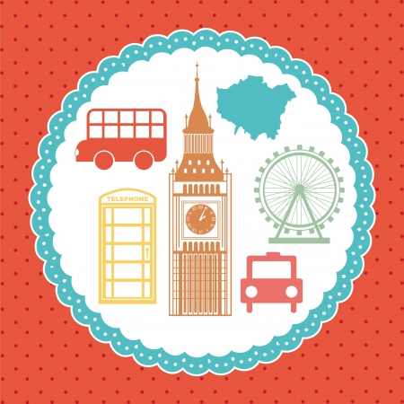 london elements over red background. vector illutration Vector