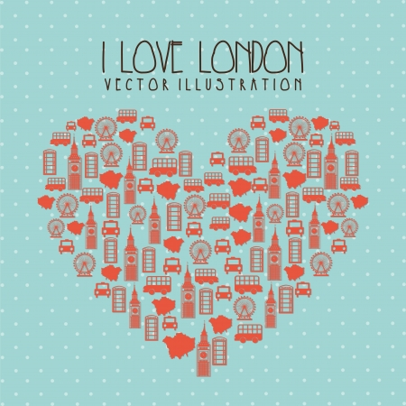 i love london illustration over blue background. vector  Vector