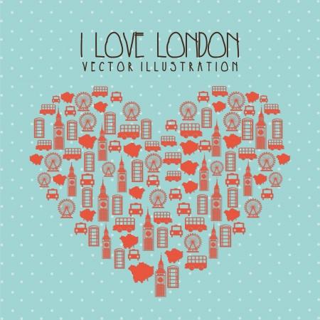 british culture: i love london illustration over blue background. vector  Illustration