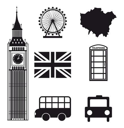 londres autobus: londres elementos sobre fondo blanco. vector Illutration Vectores