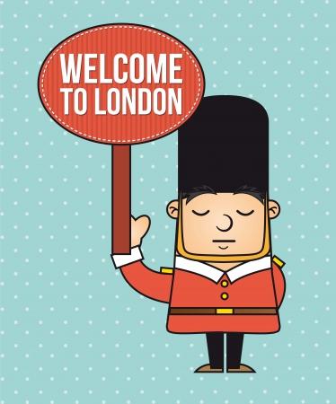 london: londen bewaker met welkomstbericht. vectorillustratie Stock Illustratie