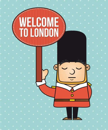 beefeater: london guard  with welcome announcement. vector illustration