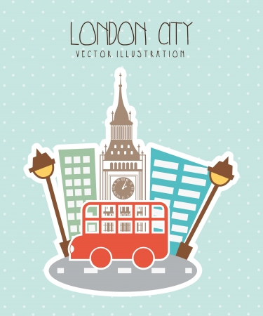 london city with big ben and bus. vector illustration Vector