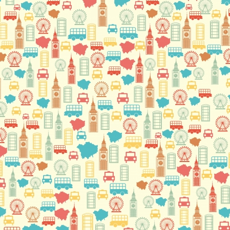 london pattern over beige background. vector illutration