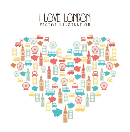 elements heart shaped london over white background. vector Illustration