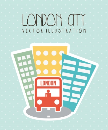 kindom: london city with buildings and bus. vector illustration