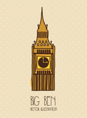 bigben: big ben cartoon over beige background. vector illustration