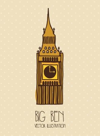 bigben: big ben cartoon over beige background. vector illustration