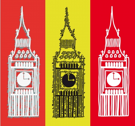 big ben over colorful background, handrawing. vector illustration Stock Vector - 17784431