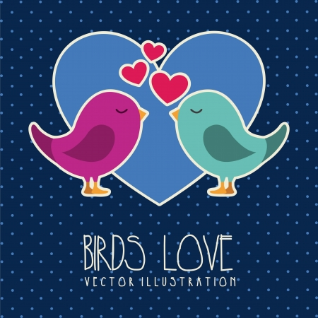 birds with hearts over blue background. vector illustration Vector
