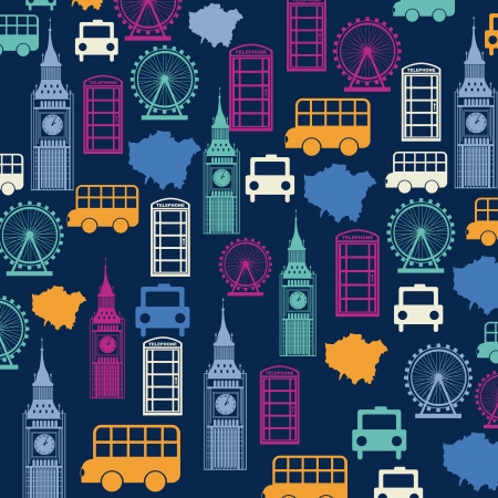 london pattern over blue background. vector illutration Vector