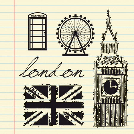 telephone booth: london elements over white background. vector illutration Illustration