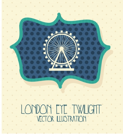 london city with eye twilight label. vector illustration