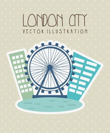 london city with eye twilight over beige background. vector Stock Vector - 17784380
