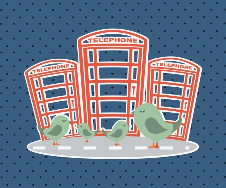 london city with Phoneboxes with birds. vector illustration Stock Vector - 17784354
