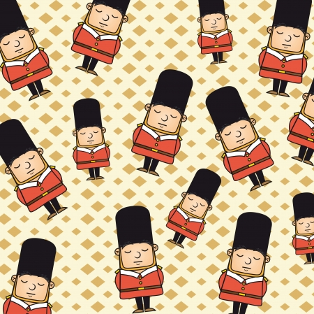 beefeater: london guard pattern over beige background. vector illustration Illustration